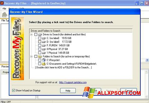 截圖 Recover My Files Windows XP