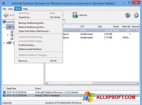 截圖 Active Partition Recovery Windows XP