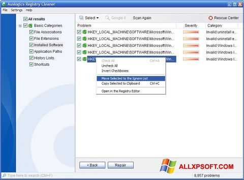 截圖 Auslogics Registry Cleaner Windows XP