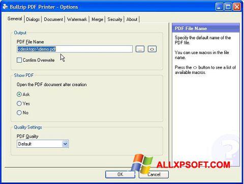 截圖 BullZip PDF Printer Windows XP