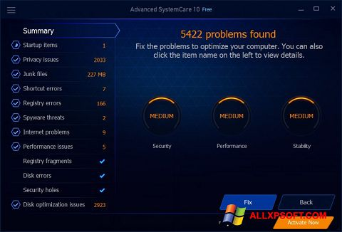 截圖 Advanced SystemCare Free Windows XP