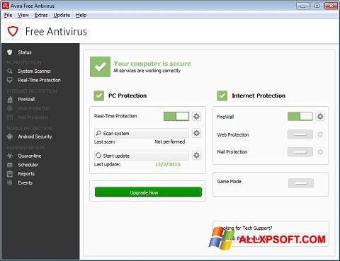 截圖 Avira Free Antivirus Windows XP