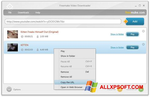 截圖 Freemake Video Downloader Windows XP