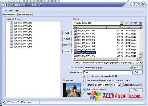 截圖 FastStone Photo Resizer Windows XP