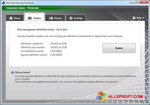 截圖 Microsoft Security Essentials Windows XP
